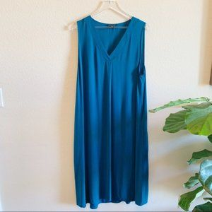 Eileen Fisher Silk Teal Dress Pockets V-Neck